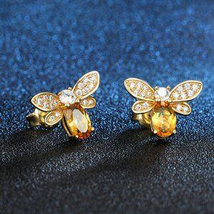 NEW 18K Gold Citrine Diamond Bee Stud Earrings